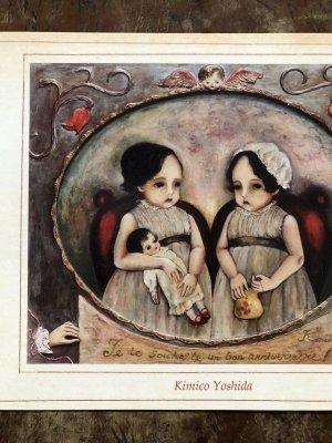 画像1: 吉田キミコ ポストカード(油絵・天使と双子とお人形)